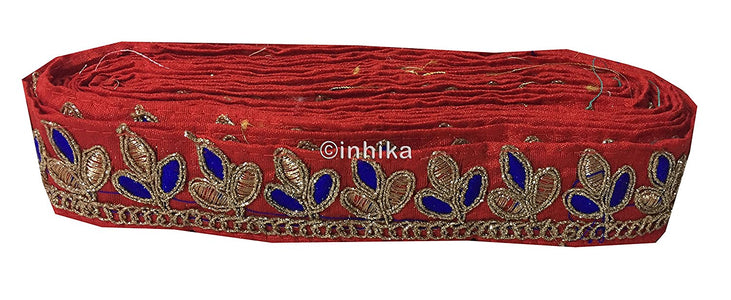 lace trim fabric bridal wedding lace trim by the yard wholesale suppliers Red, Embroidery, 2 Inch Wide material Cotton Mix