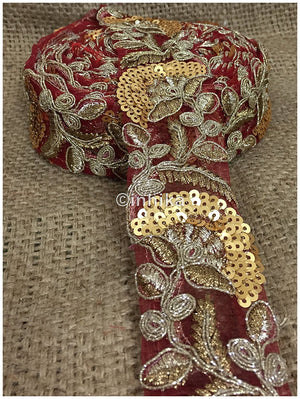 lace trim fabric beaded bridal lace fabric online by the yard Maroon, Embroidery, Sequins, 2 Inch Wide material Net, Mesh, Tulle