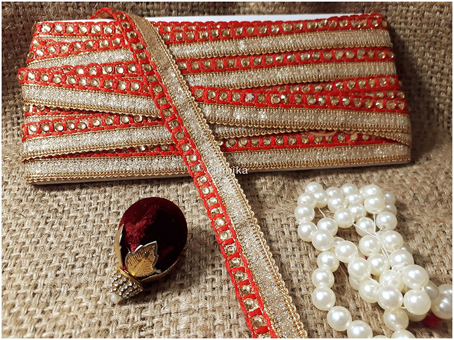 Red stone work saree border
