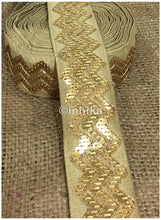Load image into Gallery viewer, lace trim fabric lace material for dressmaking by the yard Beige, Embroidery, Sequins, 3 Inch Wide material Cotton Mix, Dupion