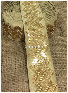 lace trim fabric lace material for dressmaking by the yard Beige, Embroidery, Sequins, 3 Inch Wide material Cotton Mix, Dupion