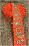 lace trim fabric garment accessories suppliers in mumbai Orange, Embroidery, 2 Inch Wide material Cotton Mix, Dupion