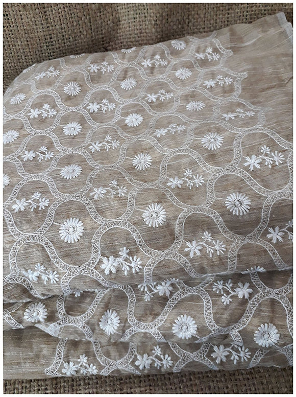 white lace fabric online india white embroidered fabric Chanderi Cotton Buiscuit Brown, White 41 inches Wide 1774