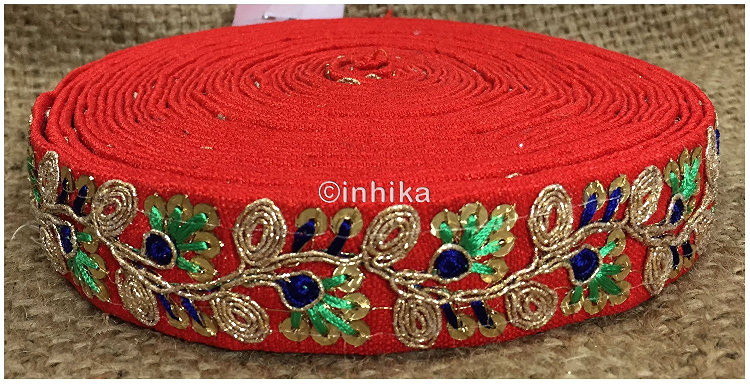 lace trim fabric garment trims and accessories wholesale suppliers Red, Embroidery, Sequins, 2 Inch Wide material Cotton Mix
