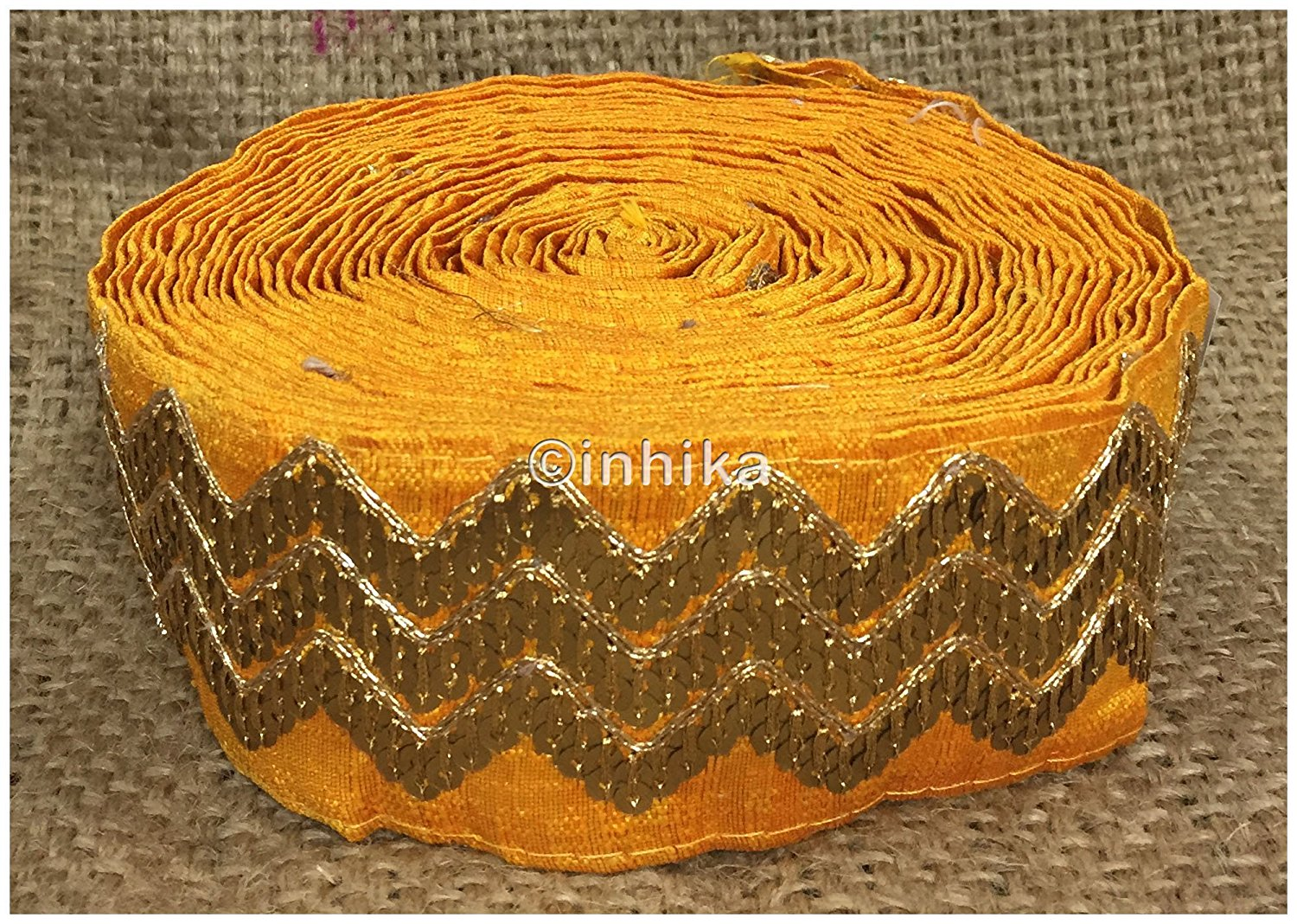 lace trim fabric lace material for dressmaking by the yard Yellow, Embroidery, Sequins, 3 Inch Wide material Cotton Mix, Dupion
