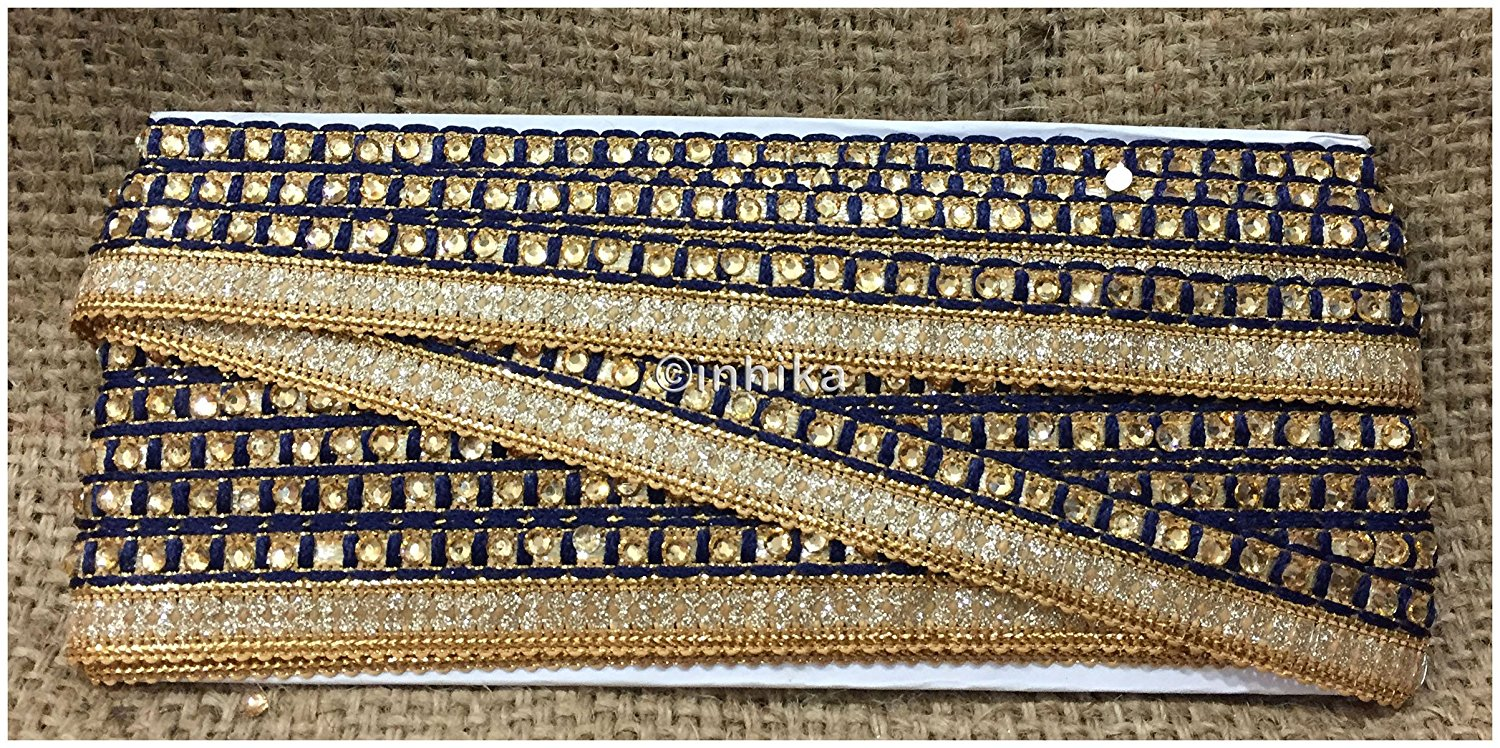 Navy blue and gold beaded trim