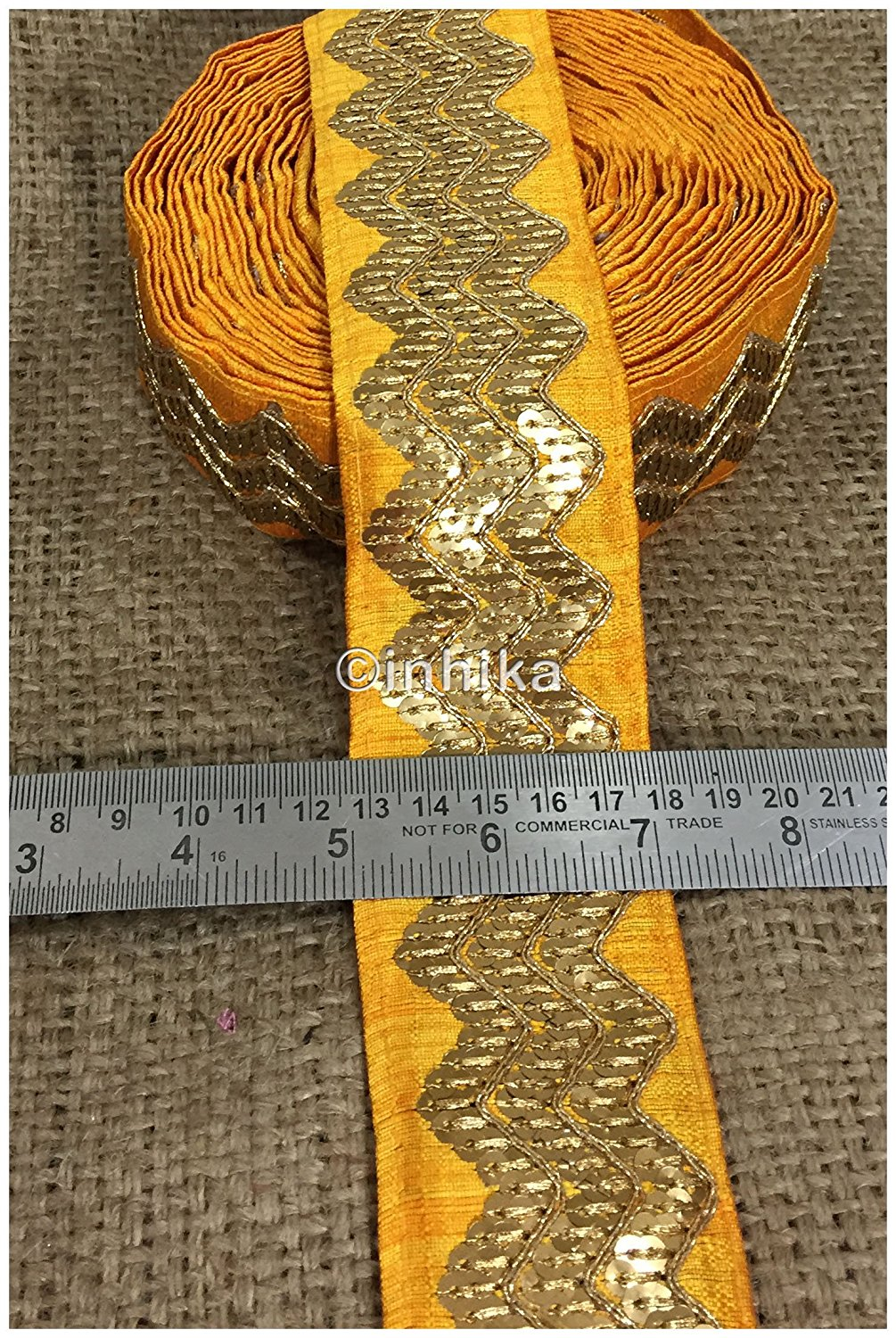 lace trim fabric trims and accessories used in garment industry Yellow, Embroidery, Sequins, 3 Inch Wide material Cotton Mix, Dupion