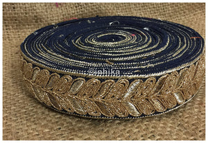 lace trim fabric trims in fashion Navy Blue, Embroidery, 2 Inch Wide material Cotton Mix