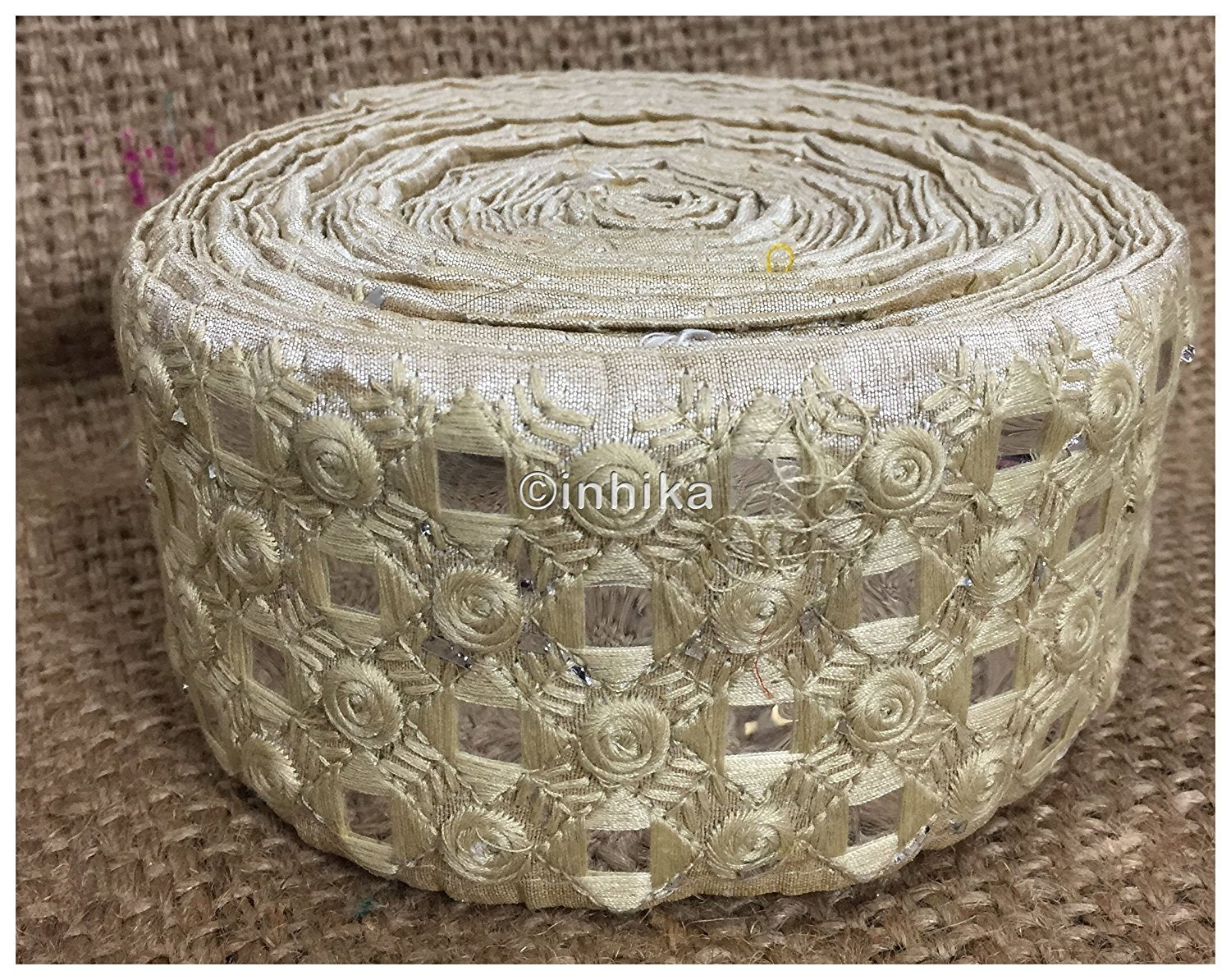 lace trim fabric garment trims and accessories wholesale suppliers Cream, Embroidery, Faux Mirror, 3 Inch Wide material Cotton Mix