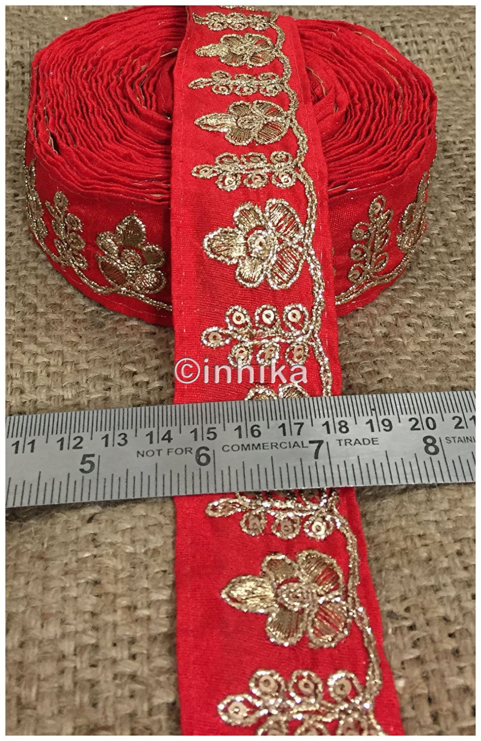 lace trim fabric designer fabric trim for garment wholesale suppliers Red, Embroidery, 2 Inch Wide material Cotton Mix, Dupion