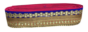 lace trim fabric garment accessories suppliers in mumbai Rani-Pink-Blue-Embroidery-Gota-Patti-3-Inch-Wide-3305