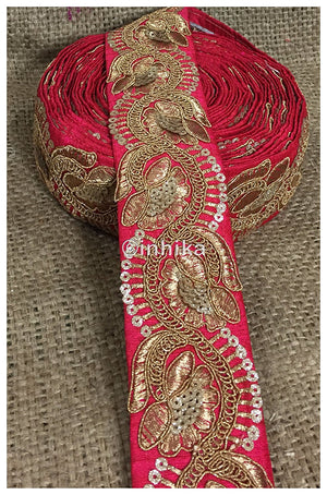 lace trim fabric trims in fashion Pink, Embroidery, Sequins, 3 Inch Wide material Cotton Mix