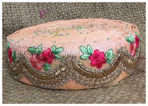 lace trim fabric designer jacquard fabric ribbon trim Peach, Embroidery, Sequins, 2 Inch Wide material Cotton Mix