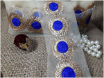 lace trim fabric where to buy fringe for clothing Royal-Blue-Embroidery-3-Inch-Wide-3316