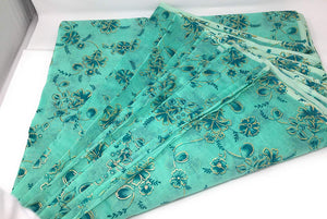 sea green printed crisp chanderi fabric