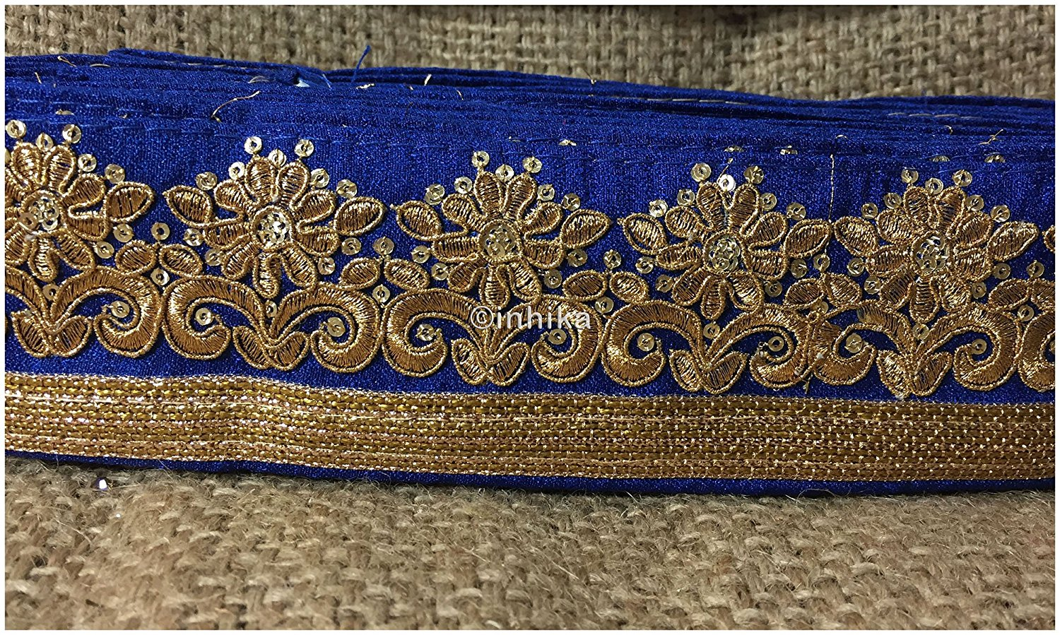 lace trim fabric designer fabric trim for garment wholesale suppliers Blue-Embroidery-Sequins-3-Inch-Wide-3297
