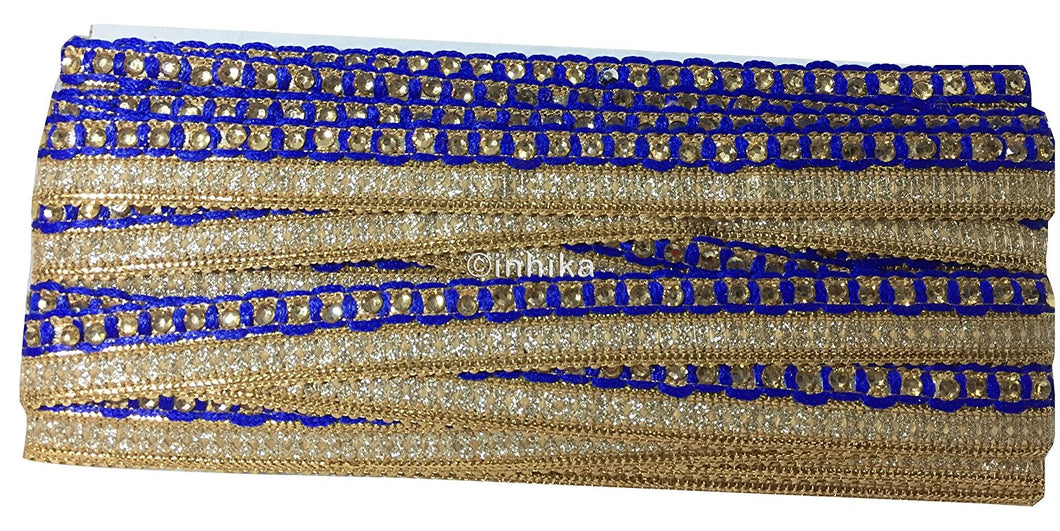 lace trim fabric designer fabric trim for garment wholesale suppliers Blue, Embroidery, Stone, 1 Inch Wide material Cotton Mix