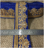 lace trim fabric sewing trims and embellishments for clothing Blue-Embroidery-Sequins-3-Inch-Wide-3297
