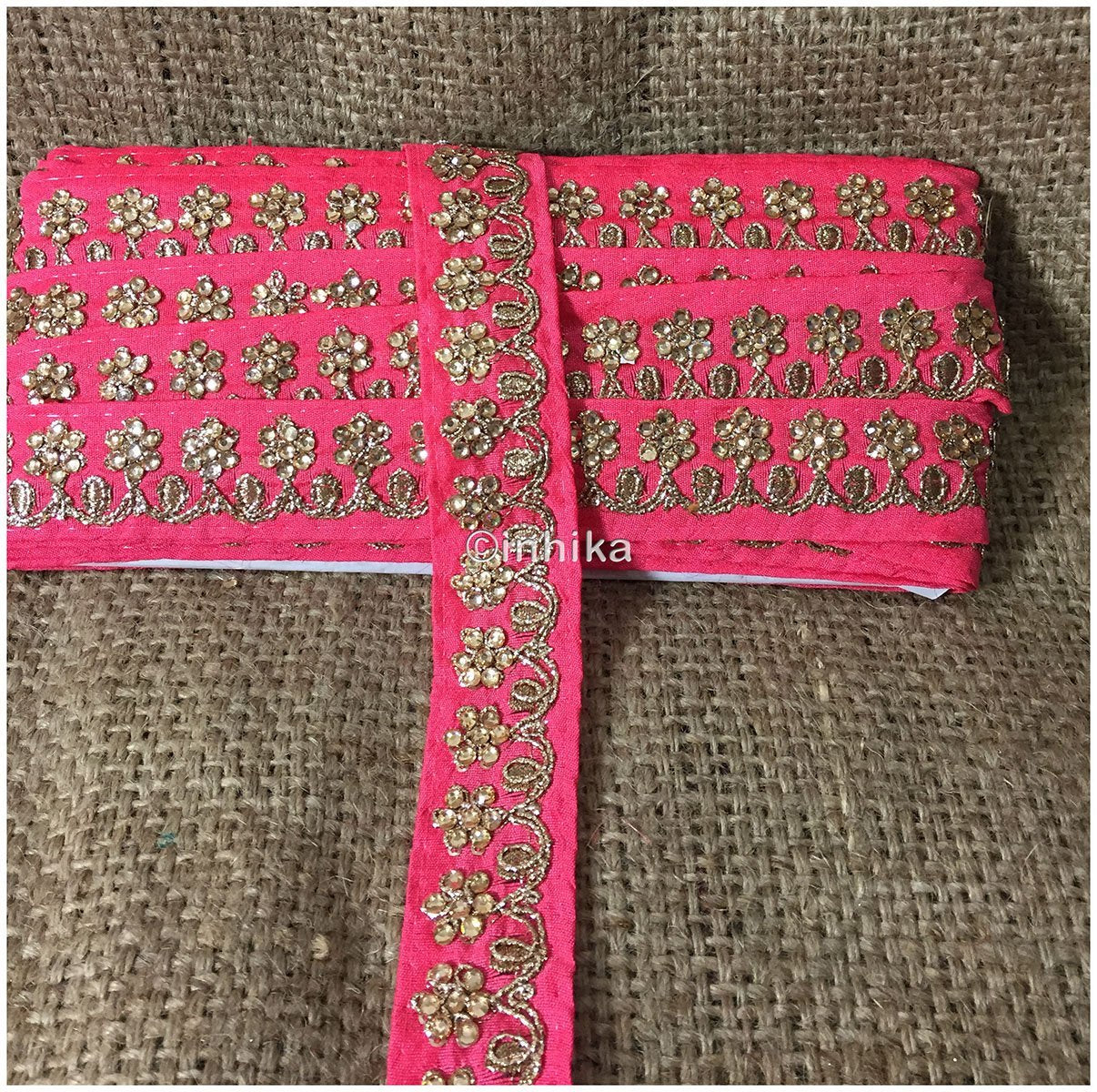 lace trim fabric online saree lace border patterns design with price Peach, Embroidery, Stone, 2 Inch Wide material Cotton Mix