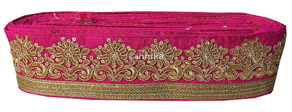 lace trim fabric garment accessories suppliers in mumbai Rani-Pink-Embroidery-Sequins-3-Inch-Wide-3298