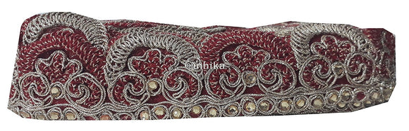 lace trim fabric garment accessories suppliers in mumbai Red-Embroidery-2-Inch-Wide-3262
