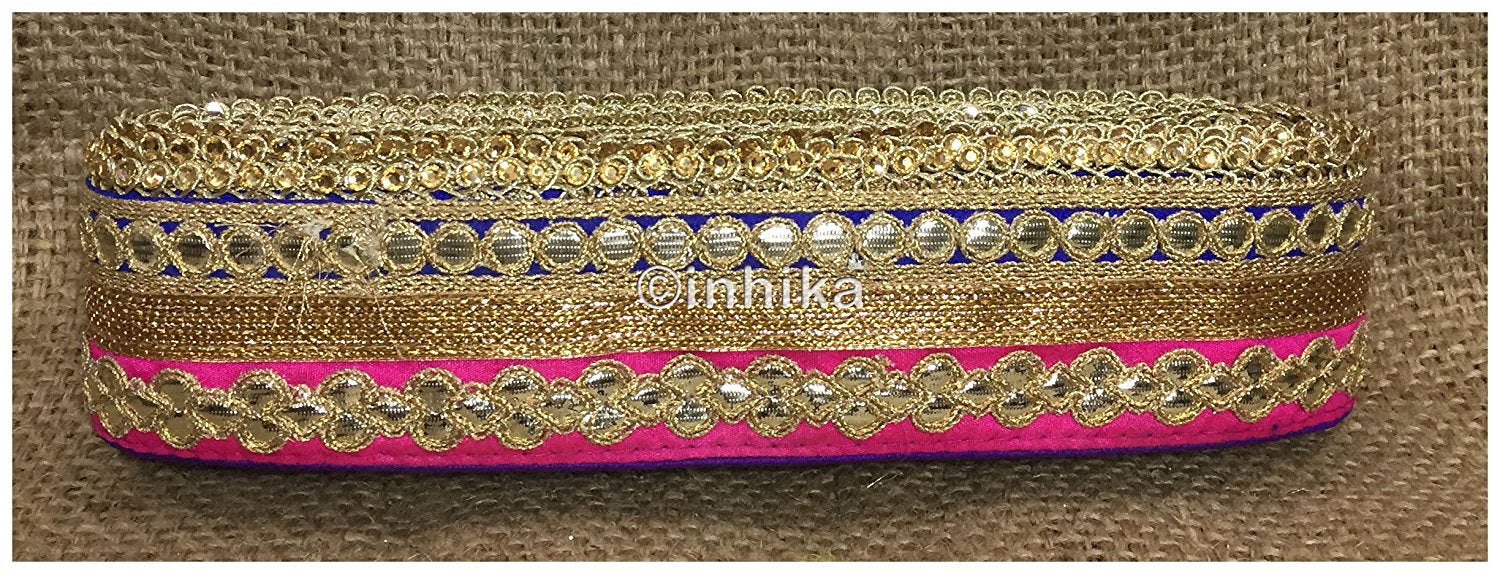lace trim fabric bridal lace fabric uk wholesale india Blue-Pink-Embroidery-Gota-Patti-3-Inch-Wide-3307