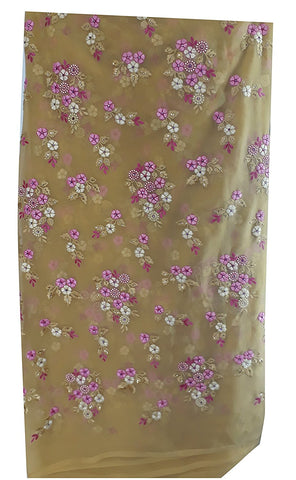 Image of buy embroidered fabric blouse material online Embroidered Georgette Beige, Pink, White 44 inches Wide 1628