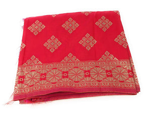 Banarasi Silk Dupatta in Red Pink Gold