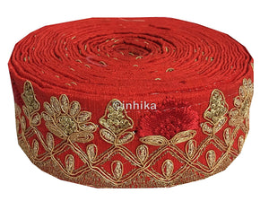 lace trim fabric where to buy fringe for clothing Red, Embroidery, Sequins, 2 Inch Wide material Cotton Mix