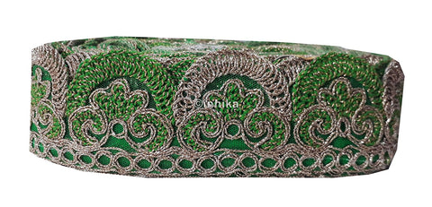 Image of lace trim fabric designer fabric trim for garment wholesale suppliers Green-Embroidery-2-Inch-Wide-3256