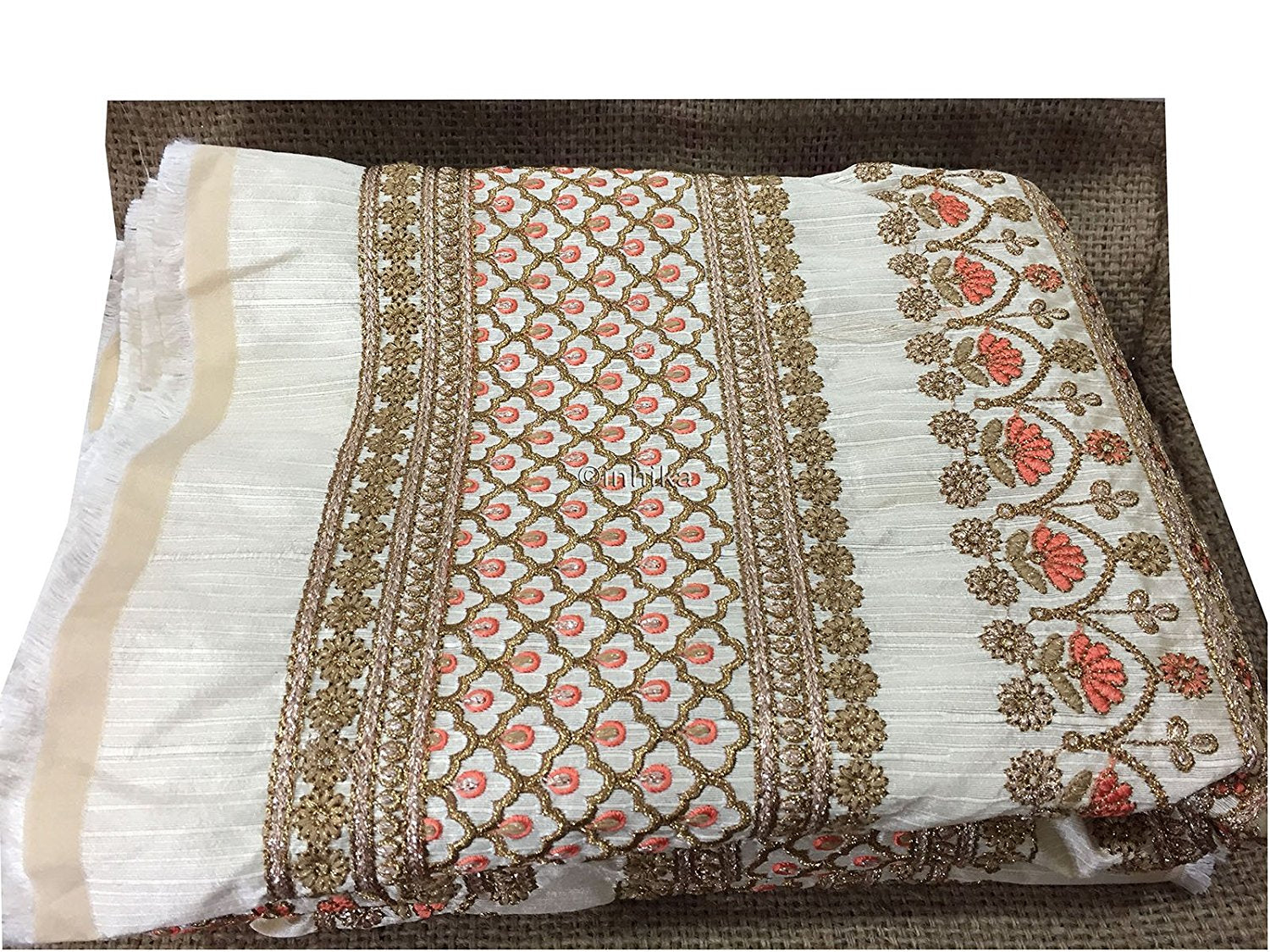 blouse material online india fabric online india Embroidery Dupion Cream, Gold, Peach, Copper 43 inches Wide 9201