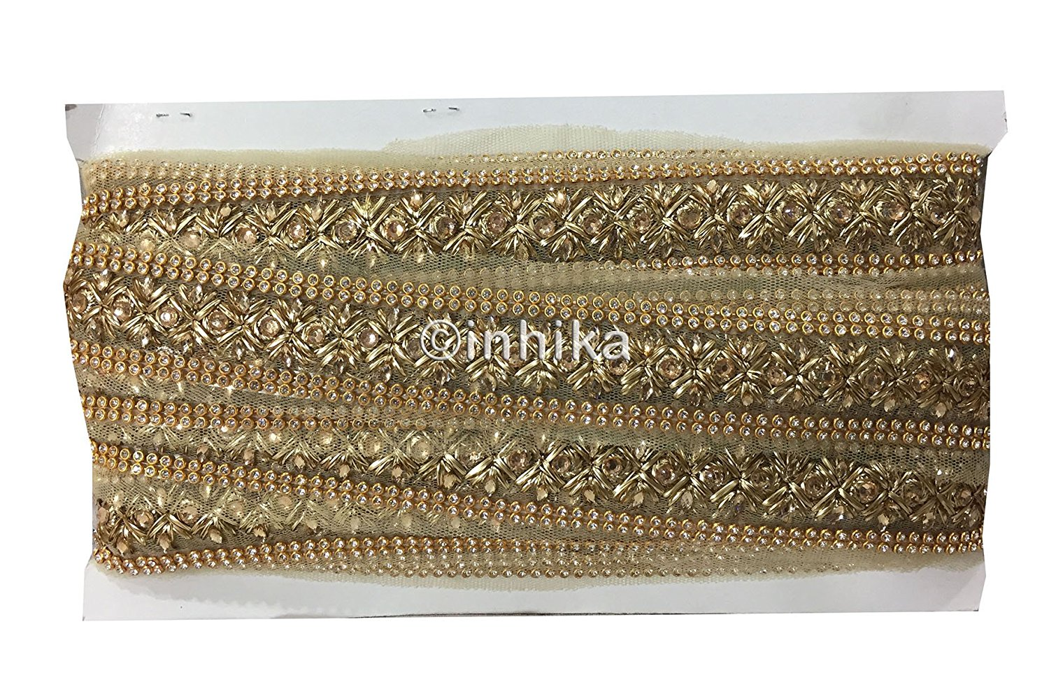 Gold Zari Cross Design Embellished Trim