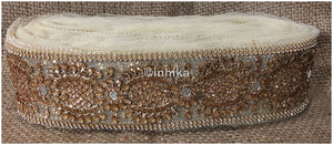 lace trim fabric sewing trims and embellishments for clothing Beige-Stone-Zari-3-Inch-Wide-3243