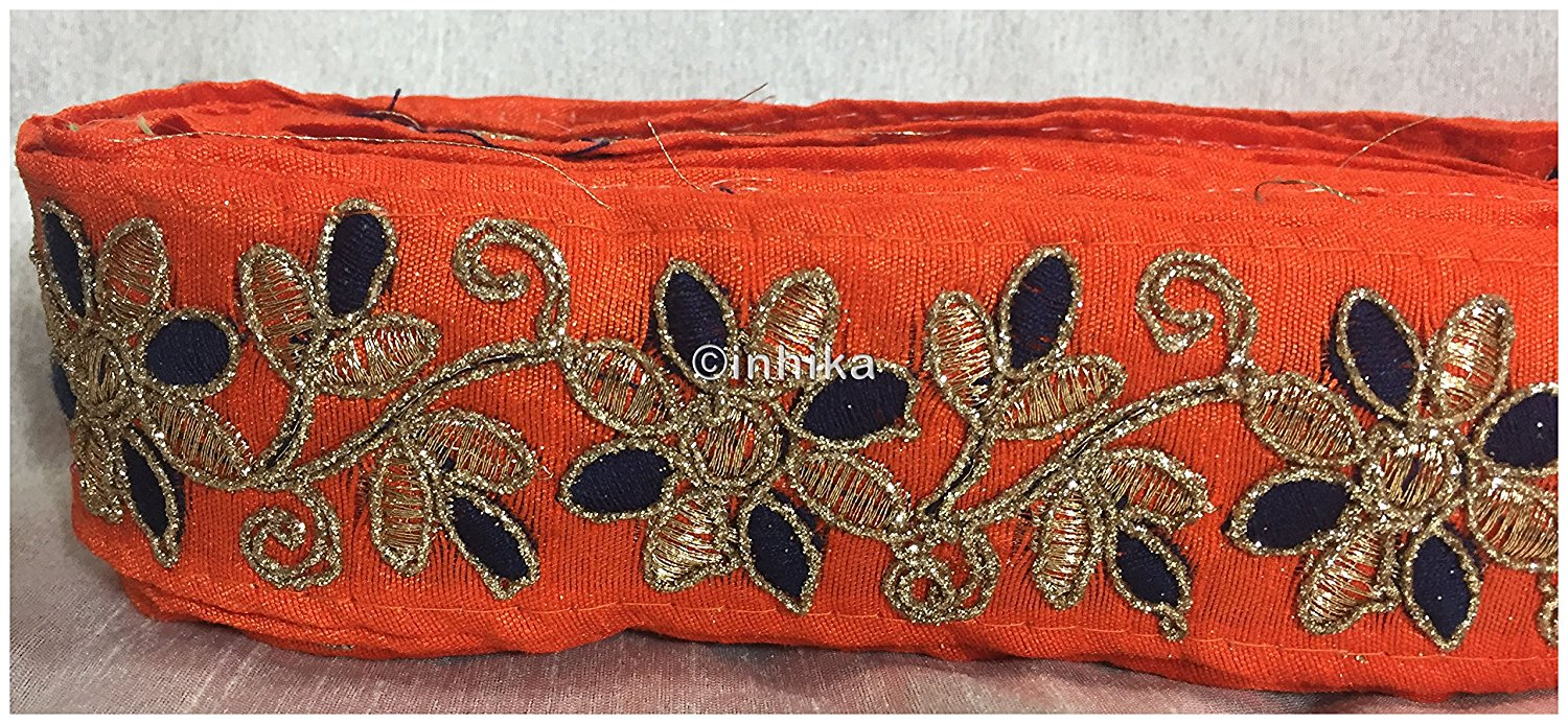 lace trim fabric trims in fashion Orange-Flower-Embroidered-2-Inch-Wide-3214