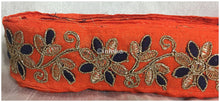 Load image into Gallery viewer, lace trim fabric trims in fashion Orange-Flower-Embroidered-2-Inch-Wide-3214