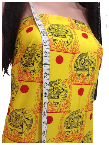 Image of cotton priinted ffabric store near me fine indian print african yellow elephant