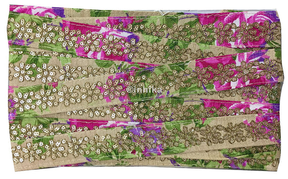 lace trim fabric trims and accessories used in garment industry Beige-Embroidered-Sequins-Printed-1-Inch-Wide-3201