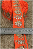 lace trim fabric fringe trim by the yard for clothing  Orange, Embroidery, 2 Inch Wide material Cotton Mix, Dupion