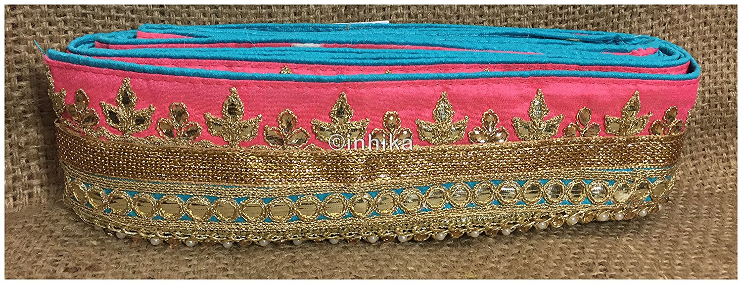 lace trim fabric sewing trims and embellishments for clothing Pink-Sky-Blue-Embroidery-Gota-Patti-3-Inch-Wide-3300