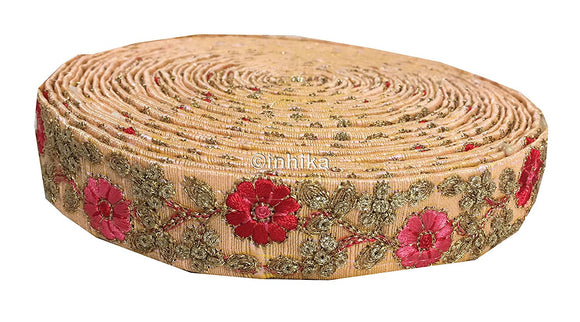 9 Meter (Yard) Roll of Lace Sari Border Trim Peach Dupion Silver Gold Sequin Embroidery Pink Flora Peach, Embroidery, Sequins, 2 Inch Wide material Cotton Mix