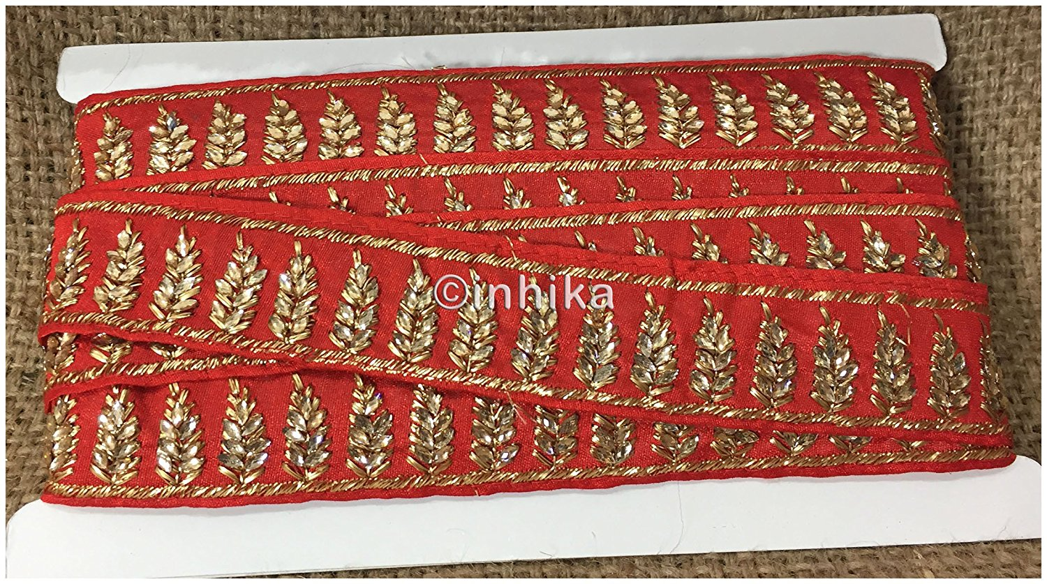 lace trim fabric bridal rhinestone lace appliques wholesale Red-Embroidered-Stone-2-Inch-Wide-3209