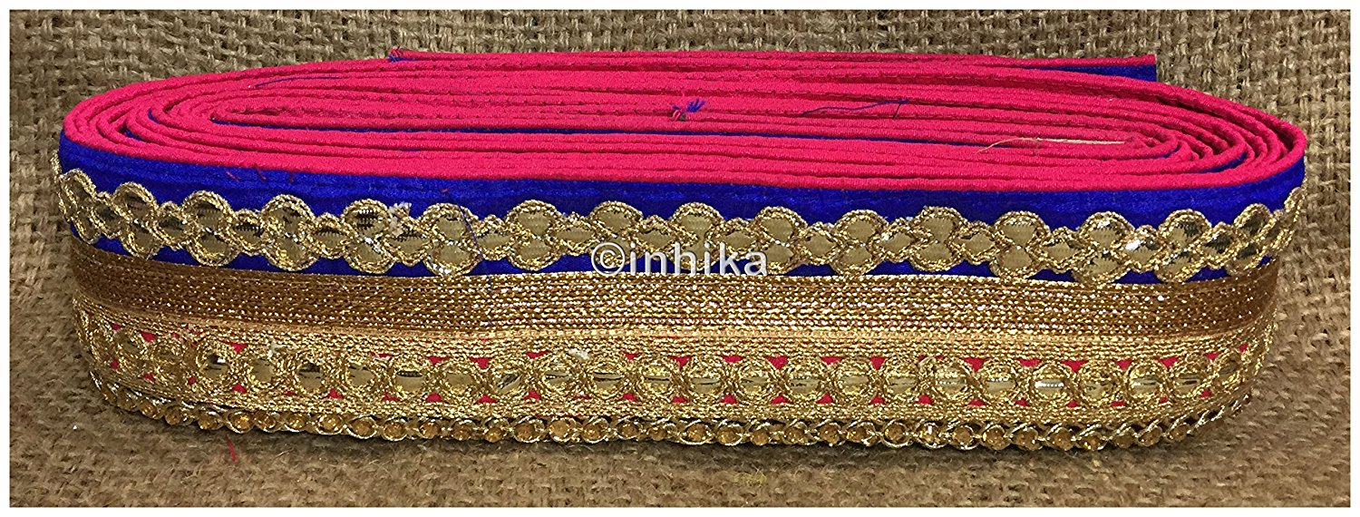 lace trim fabric garment trims and accessories wholesale suppliers Rani-Pink-Blue-Embroidery-Gota-Patti-3-Inch-Wide-3305