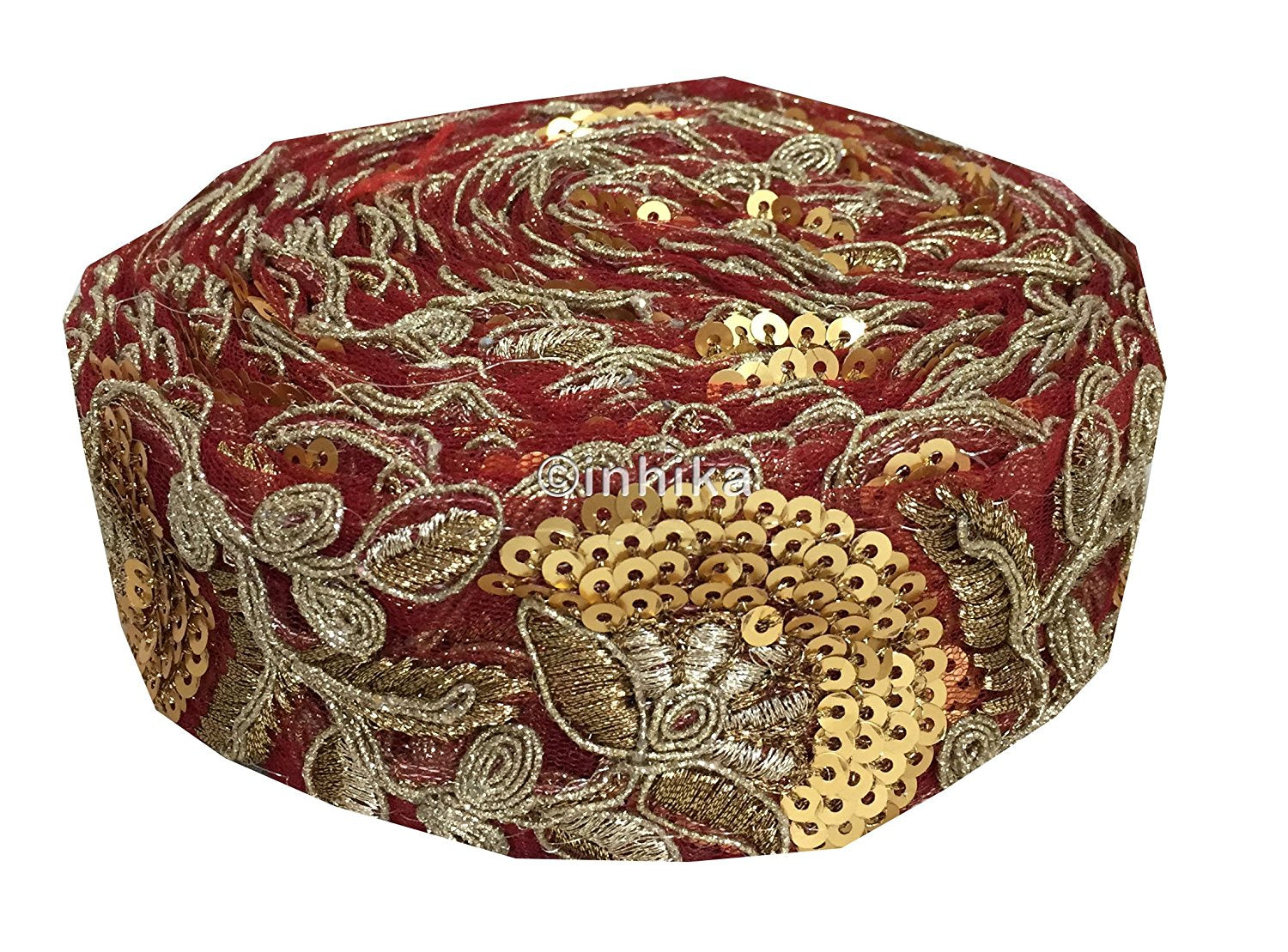 lace trim fabric sequin appliques and trims suppliers Maroon, Embroidery, Sequins, 2 Inch Wide material Net, Mesh, Tulle
