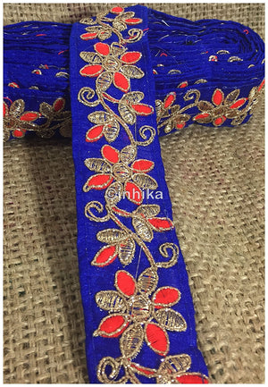 lace trim fabric lace applique trim wedding dress dance costumes and dresses Blue-Flower-Embroidered-2-Inch-Wide-3215