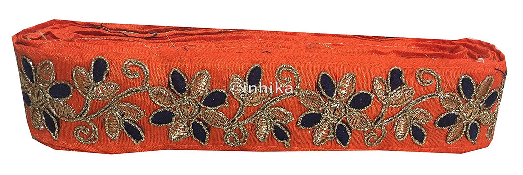 9 Meter (Yard) Roll of Lace Floral Gold Blue Embroidery Orange Base Orange-Flower-Embroidered-2-Inch-Wide-3214