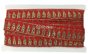 lace trim fabric where to buy fringe for clothing Red-Embroidered-Stone-2-Inch-Wide-3209