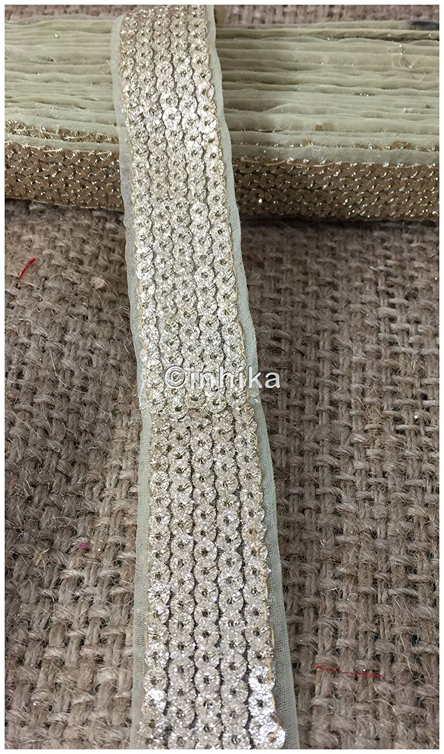 Dull Gold Shiny Sequin Trim | Tissue Fabric | 1.2 inch wide | 9 Meter Roll - Inhika.com