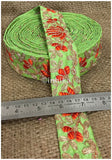 lace trim fabric sequin appliques and trims suppliers Green, Embroidery, 2 Inch Wide material Cotton Mix