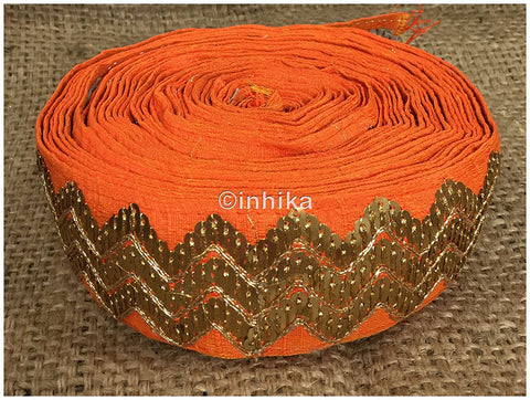 Image of lace trim fabric sequin appliques and trims suppliers Orange, Embroidery, Sequins, 3 Inch Wide material Cotton Mix, Dupion