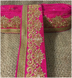 lace trim fabric trims and accessories used in garment industry Rani-Pink-Embroidery-Sequins-3-Inch-Wide-3298